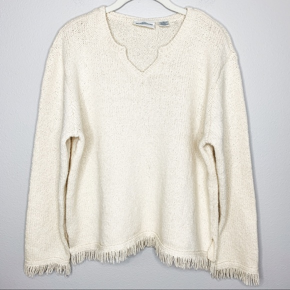 Nordstrom Sweaters - NORDSTROM Vintage Wool Blend Cream Fringed Sweater